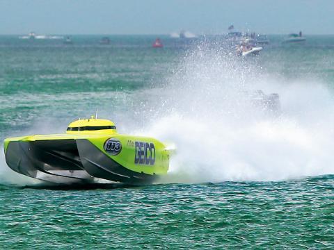Un hors-bord participant au Clearwater Super Boat National Championship