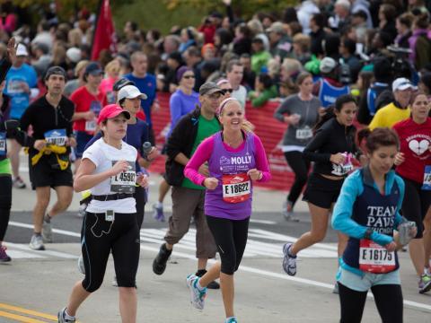 Quelques-uns des 45000coureurs participant au Chicago Marathon
