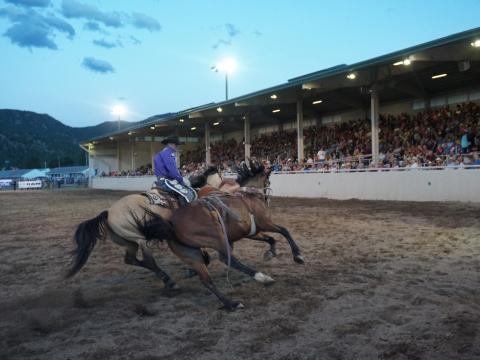 Cowboy à l'œuvre, au galop, lors du Rooftop Rodeo, qui se déroule sur une semaine à Estes Park