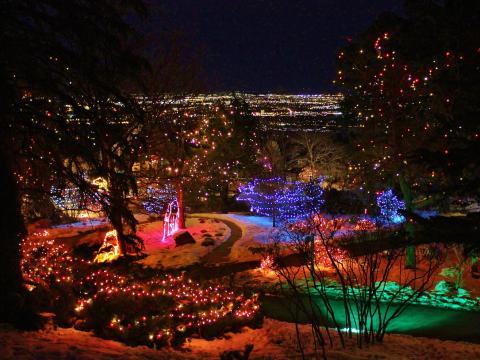 Cheyenne Mountain Zoo glowing during the Electric Safari