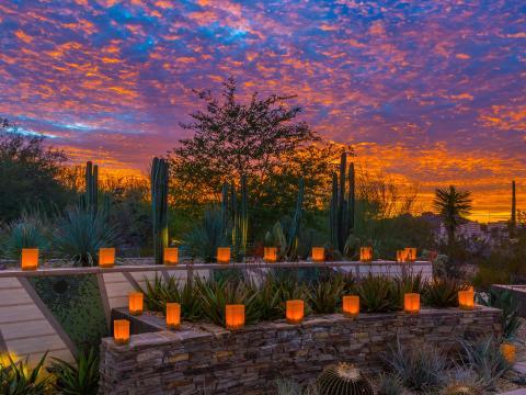 Lampions allumés au coucher du soleil à l'occasion de Las Noches de las Luminarias à Scottsdale, Arizona
