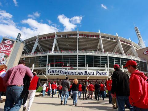 Visite du Great American Ball Park lors de la reprise de la saison pour l'équipe de baseball des Reds