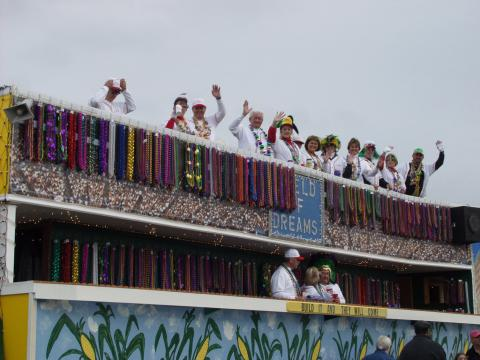 A baseball themed float during the Krewe of Dionysos Mardi Gras Parade