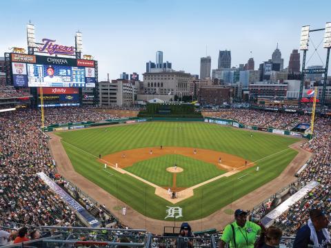 Match des Tigers de Détroit au stade de baseball Comerica Park, dans le centre-ville