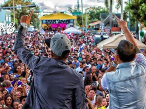 The lively Calle Ocho Festival on the streets of Little Havana in Miami, Florida