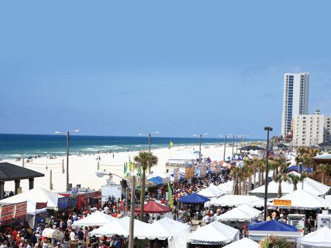 Aerial view of the National Shrimp Festival in Gulf Shores, Alabama