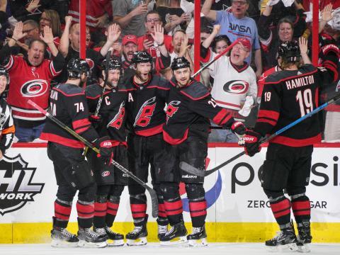 Joueurs des Carolina Hurricanes, une des équipes de la Ligue nationale de hockey (NHL)