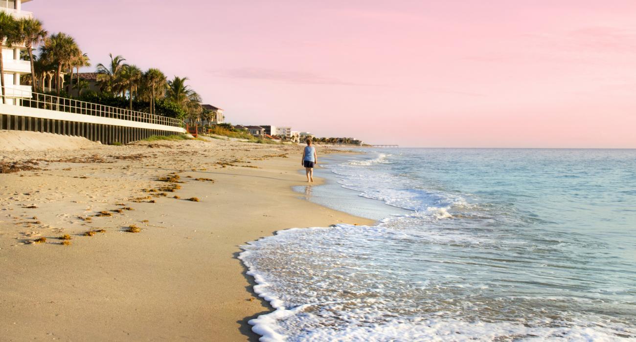 Promenade paisible sur le littoral au petit matin